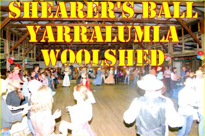 Shearer's Ball at the Yarralumla Woolshed - people dancing, some dressed in period costumes