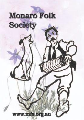 stylised man playing concertina and dog howling