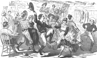 old black & white image of a party with dancing